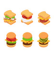 isometric burger and sandwich types set vector image vector image
