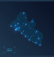 liberia map with cities luminous dots - neon vector image vector image
