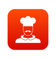 male chef cook icon digital red vector image vector image