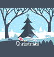 merry christmas design ith paper cut xmas tree vector image vector image