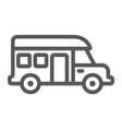 motorhome line icon transportation and auto