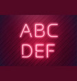 neon letters from pink led lamp in realistic vector image