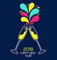 new year 2018 colorful party drink toast card vector image vector image