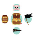 pirate treasure chest flag rum skull telescope vector image