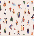 rain walking people flat seamless pattern vector image vector image