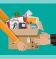 receiving package from courier to customer vector image