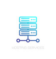 server hosting services line icon on white vector image