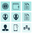 set of 9 human resources icons includes messaging vector image vector image
