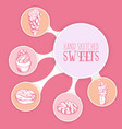 set sweet food with milkshake cupcake vector image vector image