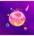 space fantasy planet asteroid moon fantastic vector image vector image