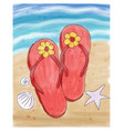 summer flip flops in the sand on the beach vector image vector image