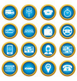 taxi icons blue circle set vector image