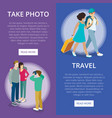 travelling people vertical flyers set vector image vector image