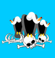 vulture on bones buzzard and skeleton scavenger vector image