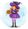 watercolor cute witch with pumpkin and black cat vector image