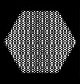 white pixelated filled hexagon icon vector image vector image