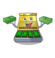 with money cash register with lcd display cartoon vector image