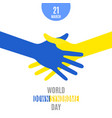 world down syndrome day poster handshake vector image vector image