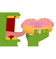 Zombies eating hot dog with brains Fast food for vector image