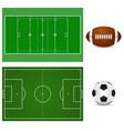 football field and soccer ball american football vector image