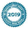 2019 happy new year blue rubber stamp vector image