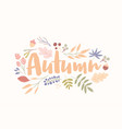 autumn word handwritten with elegant cursive font vector image vector image