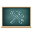 board hammer and wrench vector image vector image