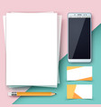 business template paper smartphone pen vector image