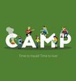 camping big lettering background vector image vector image