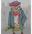 cartoon homeless man in ragged clothes vector image vector image
