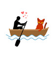 cat lover boat my kitty lovers of sailing pet and vector image vector image