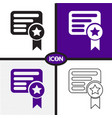 certificate icon vector image vector image