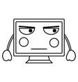 computer monitor kawaii icon image vector image vector image