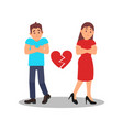 couple with broken heart young woman and man with vector image