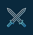 crossed swords colored outline icon vector image
