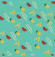 cute fruit cartoon seamless pattern vector image vector image
