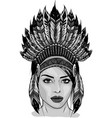design beautiful girl in a headdress north vector image vector image