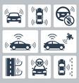 driverless autonomous robotic car icon set vector image