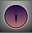 exclamation mark sign violet gradient vector image