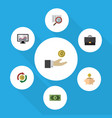 flat icon incoming set of hand with coin vector image vector image