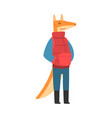 fox wearing warm winter clothes humanized forest vector image