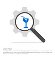 glass of juice icon search glass with gear symbol vector image