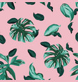 green leaves seamless pink background vector image