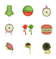 halloween zombie sticker icons set cartoon style vector image