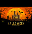 happy halloween banner castle orange background vector image vector image
