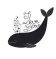 I love you quote cartoon whale vector image vector image