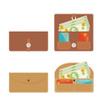large brown leather wallet loaded with bank notes vector image