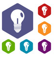 light bulb icons set hexagon vector image