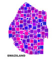 mosaic swaziland map of square elements vector image vector image