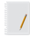 note book paper with pencil vector image vector image